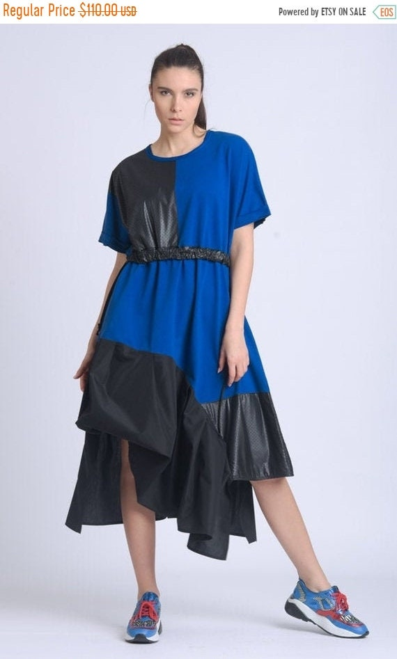 10% OFF NEW Asymmetric Blue and Black Dress/Half Sleeve Tunic Dress/Extravagant Loose Dress/Round Neck Dress/Two Color Casual Dress METD0151