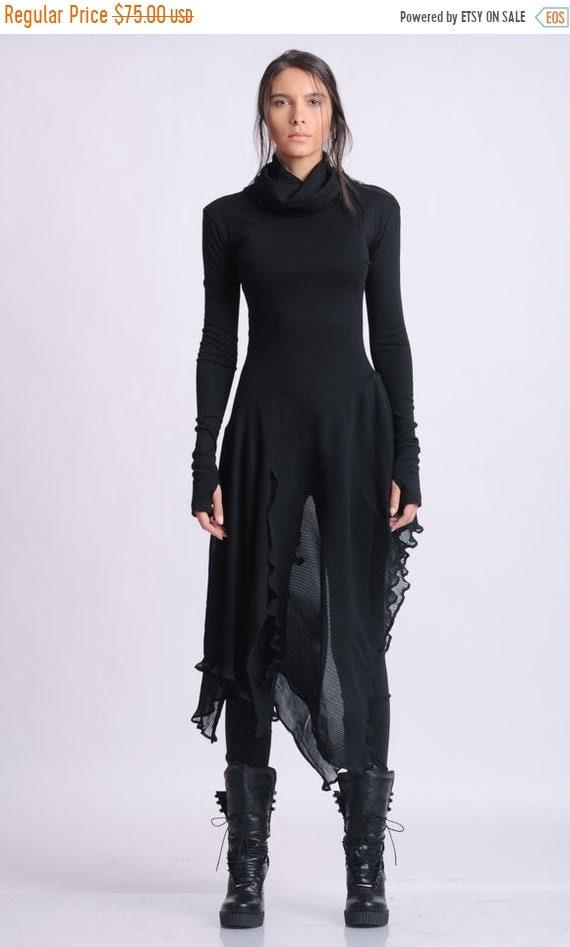10% OFF NEW Long Asymmetric Black top/Extravagant Casual Tunic/Thumb Hole Sleeve Blouse/Black Chiffon Top/Avant Garde Black Blouse/Long Fitt