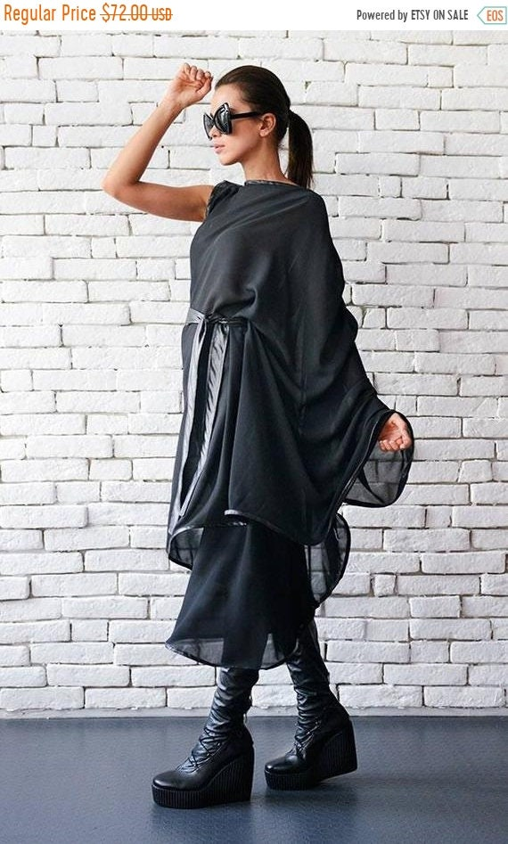 20% OFF Loose Chiffon Tunic Dress/Sheer Asymmetric Tunic/Comfortable Black Dress with Belt/Plus Size Long Black Top/Tunic with Leather Belt