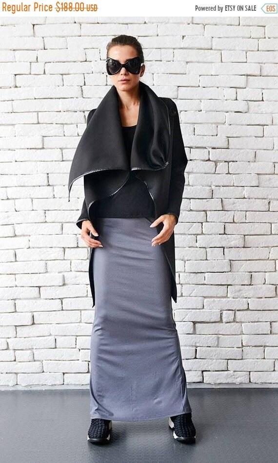 25% OFF Long Black Jacket/Asymmetric Coat/Warm Jacket with Big Collar/Black Asymmetric Jacket/Extravagant Neoprene Coat/Long Black Jacket ME