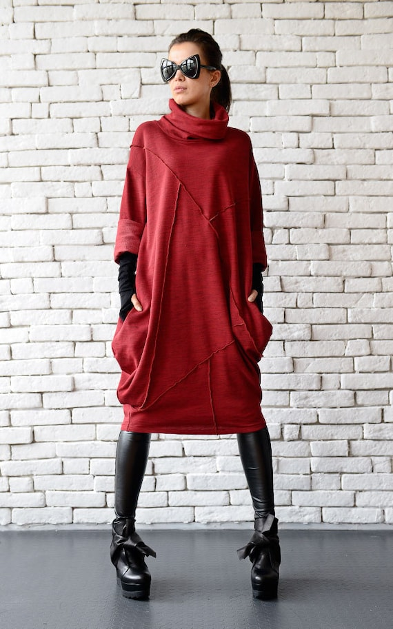 Red Loose Tunicoversize Red Dressred Maxi Dresslong Sleeve Etsy