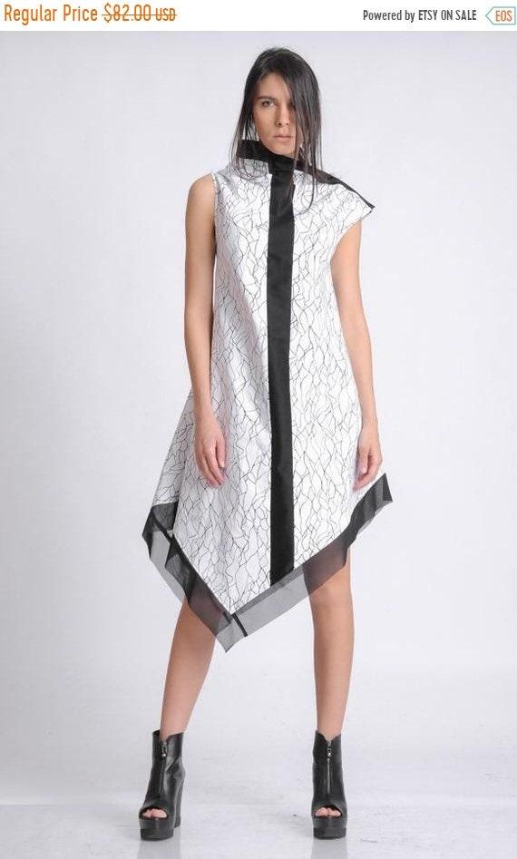 50% OFF Extravagant Pattern Asymmetric Dress/Black and White Dress/Sleeveless Dress with Mesh Hem/Abstract Pattern Tunic Dress with Black Li