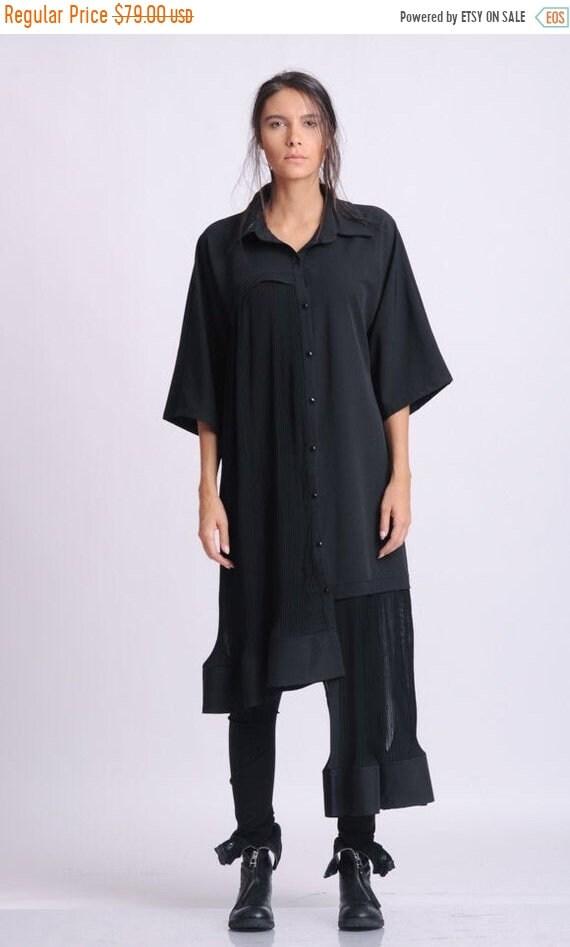 15% OFF NEW Plus Size Maxi Shirt/Black Button Shirt/Collared Loose Tunic/Asymmetric Oversize Shirt/Wide Hem Tunic Top/Maxi Sleeves Shirt/Cas