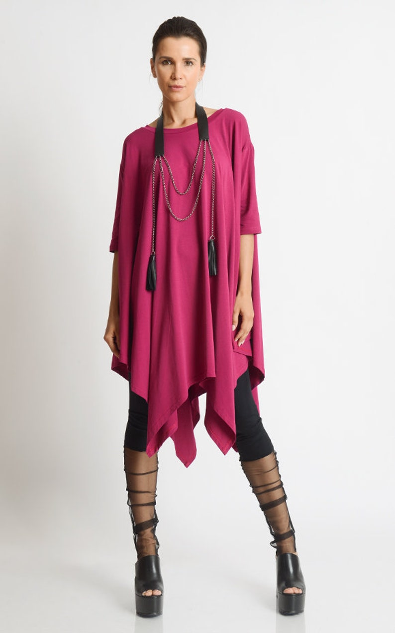 Plus Size Maxi Tunic/Extravagant Short Sleeve Top/Fuchsia image 0