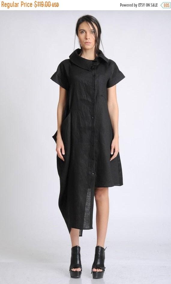 20% OFF Black Linen Dress/Asymmetric Tunic Dress/Large Collar Shirt Dress/Short Sleeve Casual Dress/Black Loose Dress/Black Summer Linen Dre