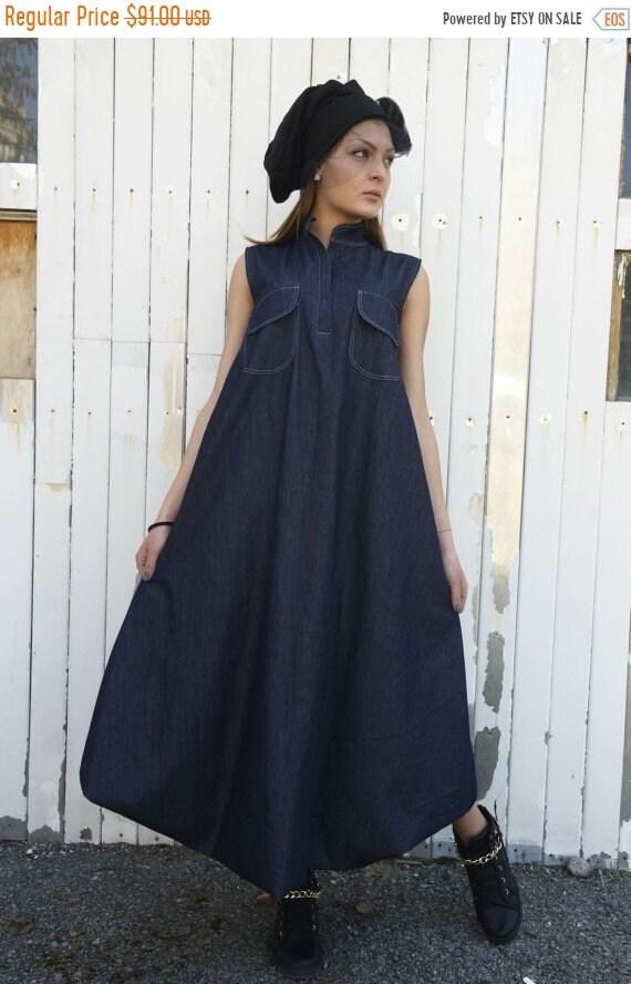 Sale Denim Maxi Dress Blue Jean Dress Dark Blue Kaftan Etsy