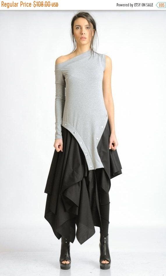 20% OFF Black and Grey Loose Dress/Extravagant Asymmetric Kaftan/Off the Shoulder Studded Dress/Sleeveless Tunic Dress/Long Sleeve Dress MET