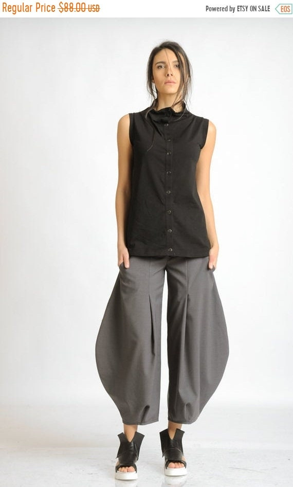 20% OFF Grey Oversize Trousers/Wide Loose Pants/Long Grey Pants/Plus Size Pants/Casual Ankle Pants/Wide Leg Trousers/Extravagant Loose Pants