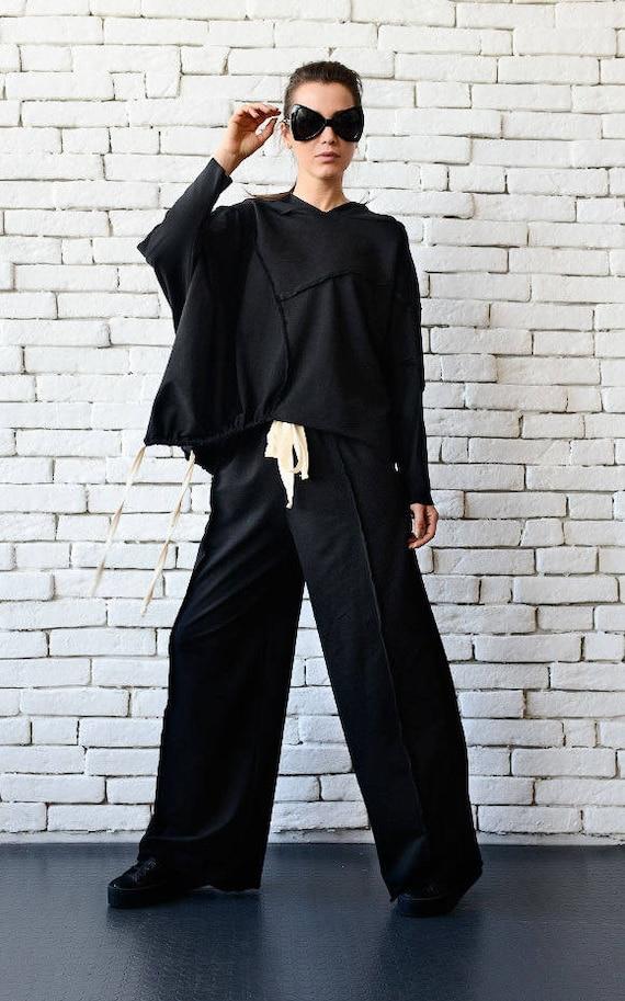 Black Loose Tracksuit/Plus Size Casual Suit/Asymmetric Tunic/Wide Leg Pants/Black Sport Set/Oversize Hooded Tunic/Black Maxi Pants/Loose Set