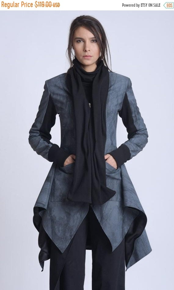 25% OFF NEW Extravagant Zipper Asymmetric Coat/Avant Garde Pattern Jacket/Long Dress Coat/Pattern Loose Jacket/Long Scarf Collar Jacket/Casu
