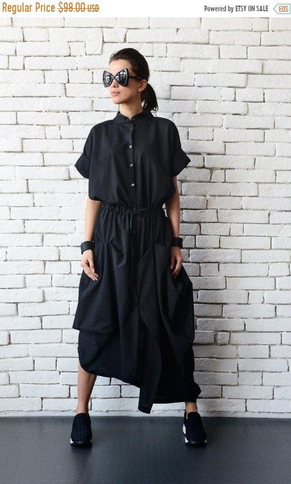 20% OFF Black Linen Long Dress/Extravagant Asymmetric Shirt Dress/Short Sleeve Loose Tunic/Casual Black Dress/Plus Size Maxi Dress METD0079