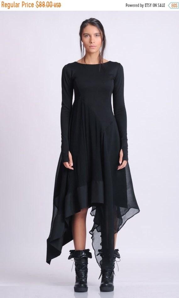 15% OFF NEW Long Sleeve Asymmetric Dress/Thumb Hole Sleeve Dress/Casual Pleated Dress/Black Chiffon Dress/Everyday Comfortable Dress METD013