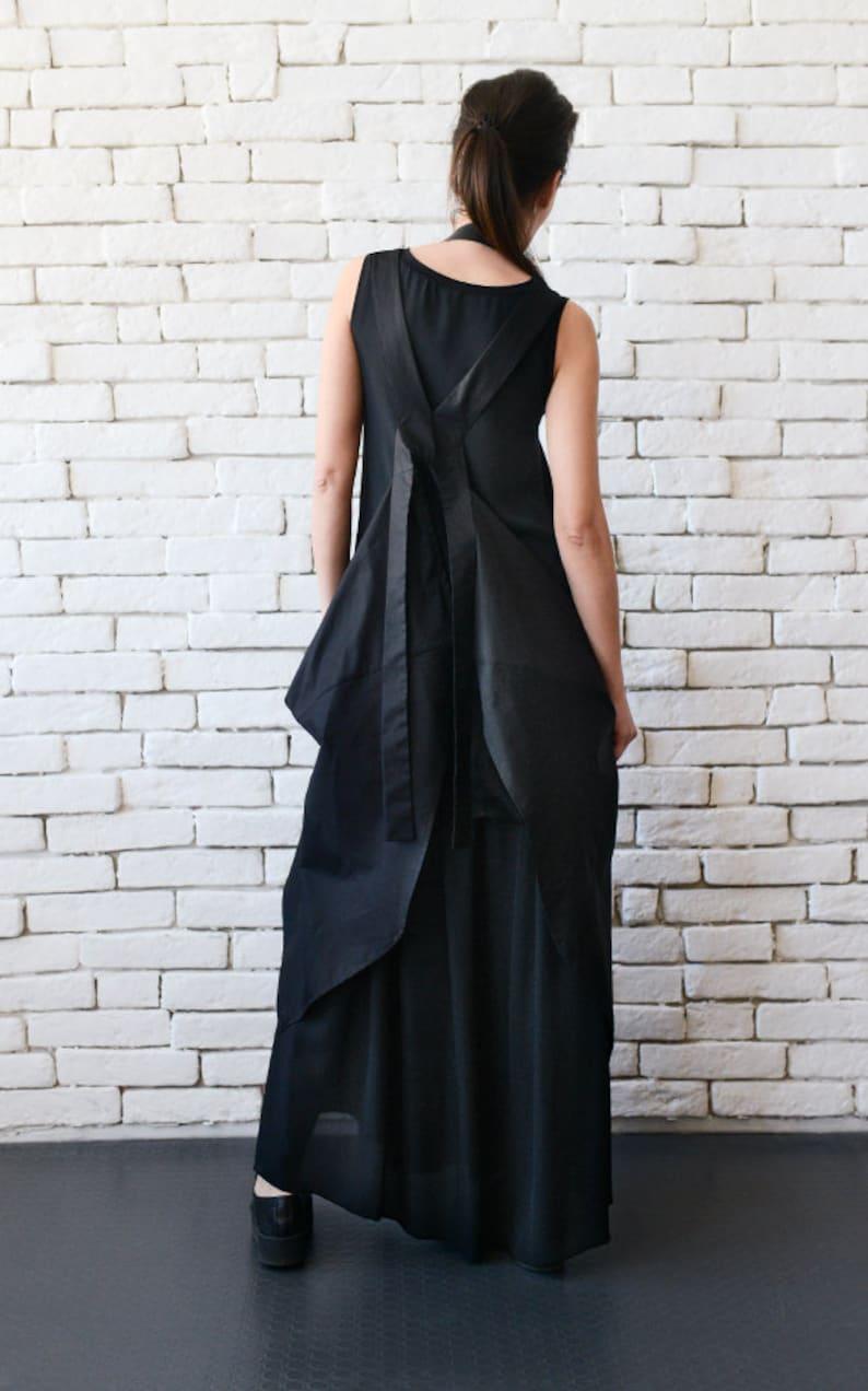 Black Maxi DressExtravagant Black KaftanAsymmetric Plus Size DressSleeveless Oversize Tunic TopSuspenders BackCasual Dress METD0096