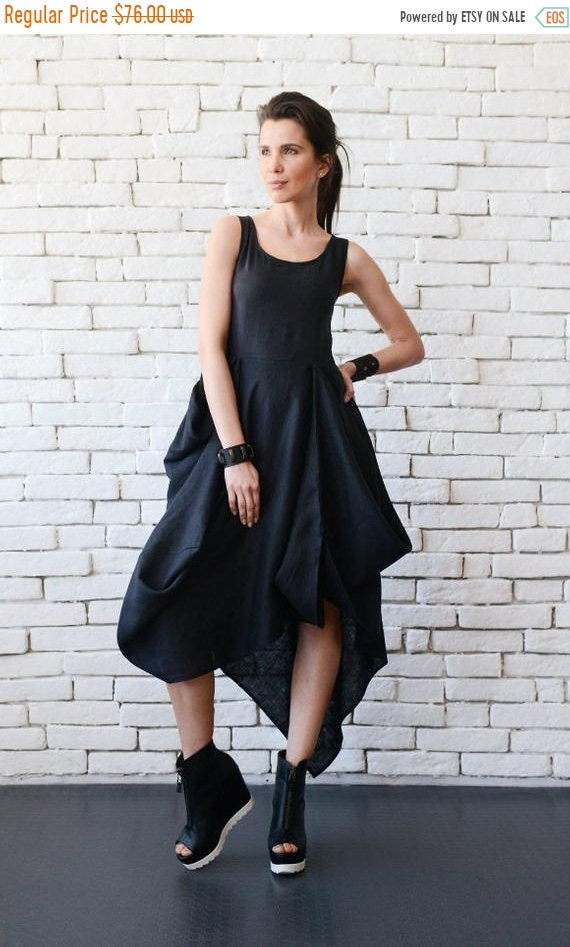 35% OFF Black Asymmetric Linen Dress/Long Short Tunic Top/Black Linen Dress/Comfortable Casual Dress/High Low Tunic/Oversize Black Linen Top