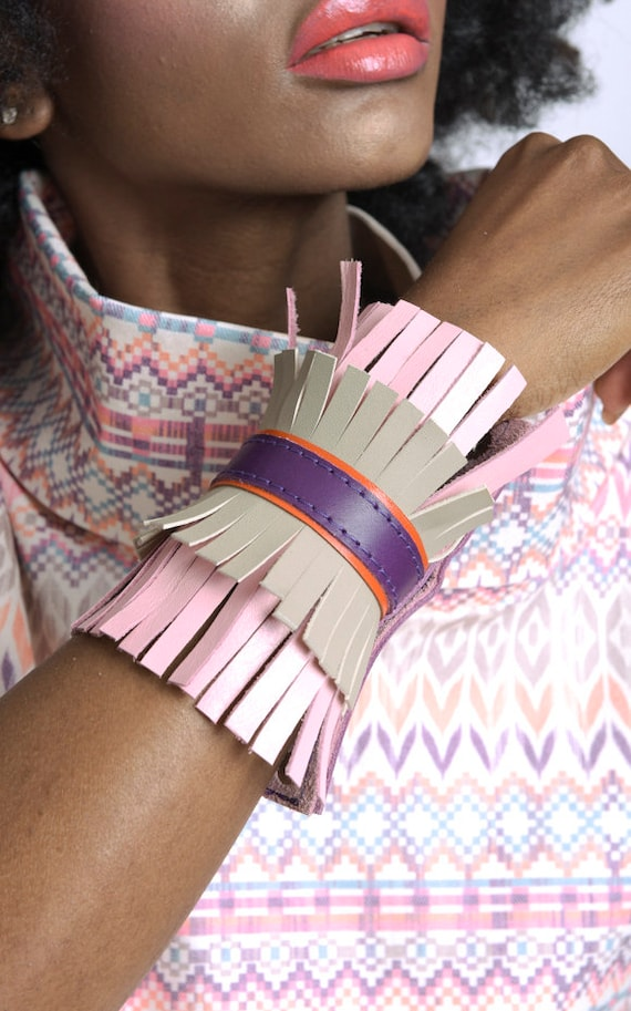 Extravagant Fringe Bracelet/Genuine Leather Cuff/Snap Buttons Bracelet/Leather Hand Accessory/Colorful Bracelet with Fringes
