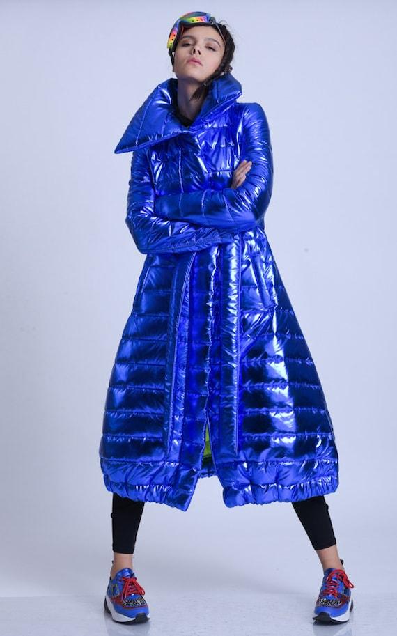 META SPORT Extravagant Winter Coat/Long Oversize Jacket/Plus Size Maxi Coat/Shiny Belted Coat/Casual Comfortable Coat/Oversize Collar Coat