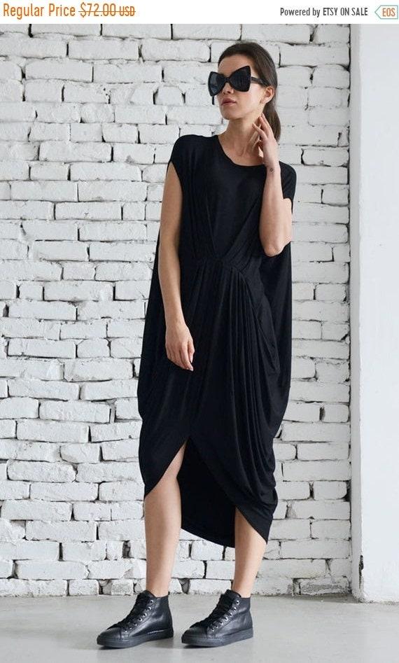 35% OFF Black Sleeveless Loose Dress/Oversize Black Tunic Top/Everyday Casual Dress/Asymmetric Kaftan/Maxi Black Dress/Plus Size Long Top