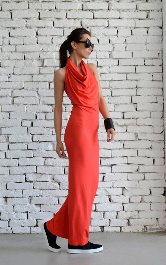 Red Long Formal Dress/Beautiful Backless Dress/Elegant Tight Red Dress/Sleeveless One Strap Dress/Oversize Red Long Tunic/Casual Dress