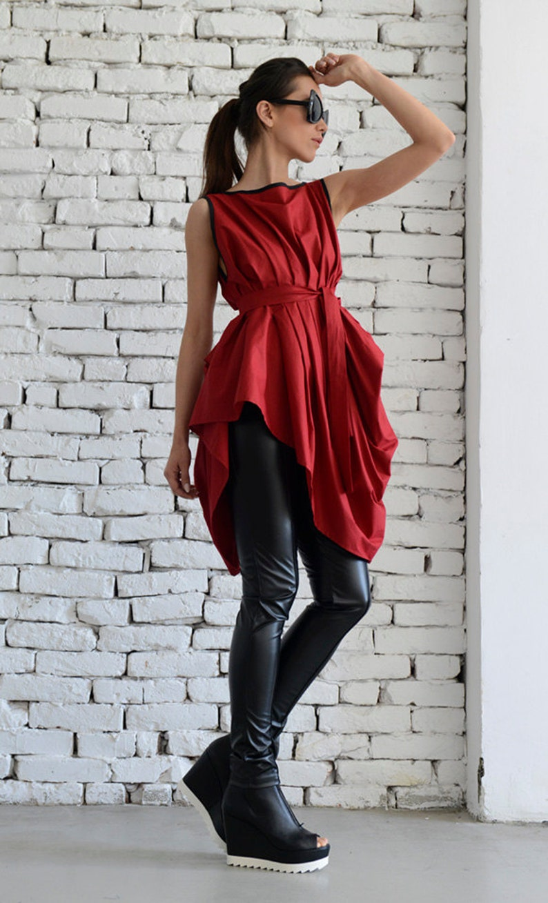 Red Asymmetric Top/Sexy Red Tunic/Loose Belt Vest/Sleeveless image 0