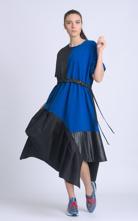 Black and Blue Dress/Extravagant Asymmetric Dress/Loose Two Color Dress/Comfortable Everyday Dress/Round Neck Dress/Casual Dress METD0151
