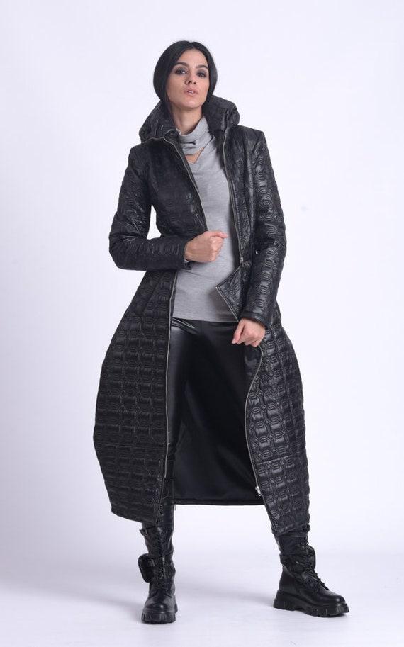 NEW Long Puffer Coat/Black Dress Coat/Long Down Jacket/Winter Zipper Coat/Long Casual Coat/Warm Down Coat/Collared Lined Coat METC0083