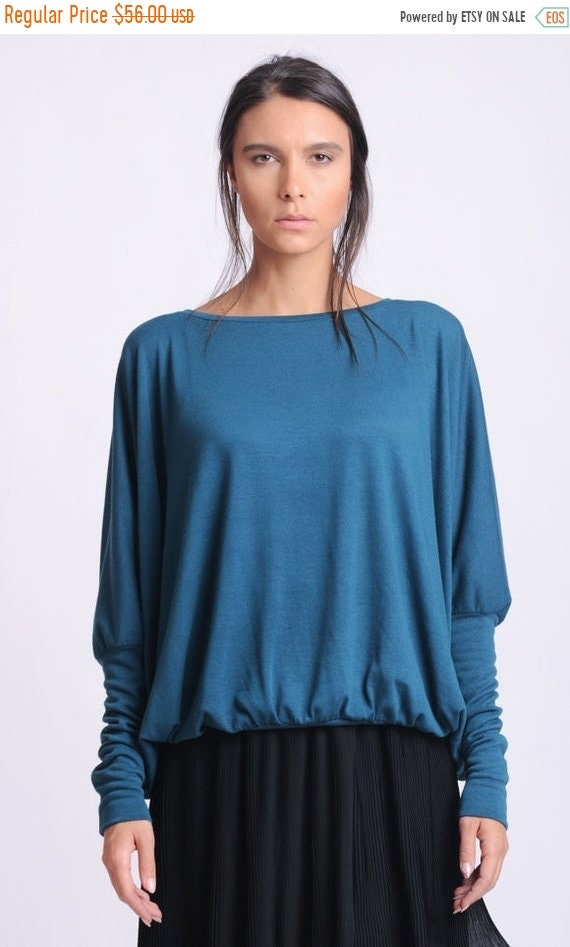 20% OFF NEW Plus Size Maxi Top/Petrol Long Sleeve Blouse/Oversize Loose Shirt/Comfortable Casual Top/Cotton Loose Top/Petrol Maxi Top/Everyd