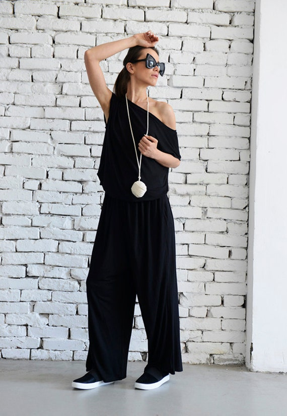Loose Black Jumpsuit/Fallen Sleeve Jumpsuit/Long Jumpsuit/Maxi Jumpsuit/Black Loose Romper/Wide Leg Jumpsuit/Black Maxi Jumpsuit METJ0003