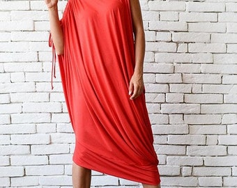 SALE Red Loose Kaftan/Plus Size Maxi Dress/Asymmetric Tunic Top/Red Oversize Dress/Casual Everyday Dress/Summer Red Dress/Oversize Midi Red