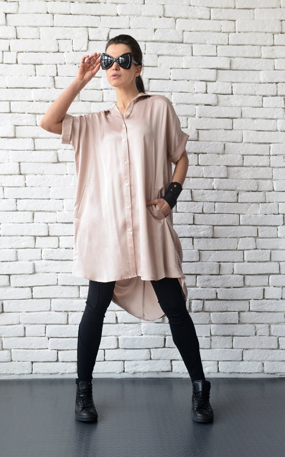 6ec15f88a3139e Loose Short Sleeve Shirt/Rose Beige Tunic Top/Plus Size Women Shirt/ Extravagant Tunic Top/Oversize Long Top/Asymmetric Button Shirt/Long Top