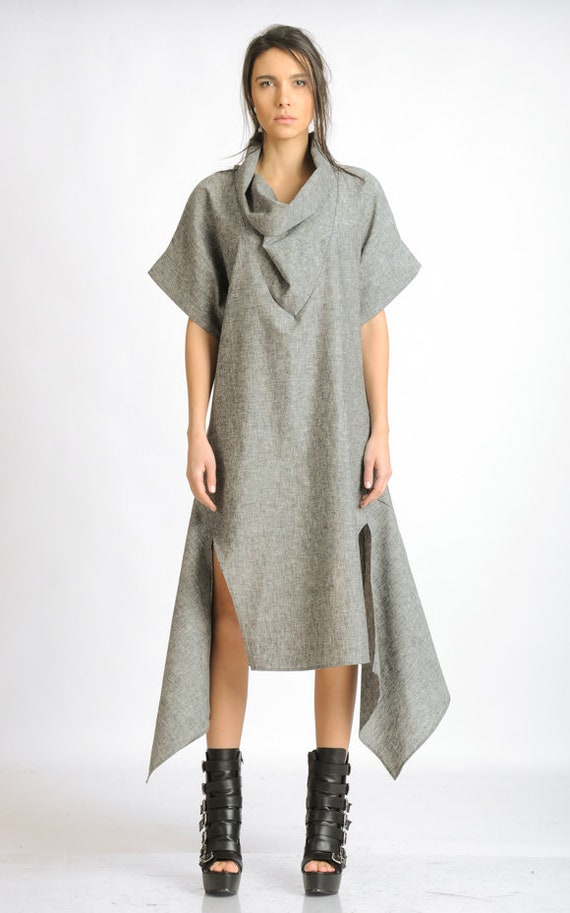 Grey Linen Dress/Asymmetric Casual Tunic Dress/Short Sleeve Maxi Dress/Loose Long Tunic/Plus Size Linen Dress/Oversize Cowl Dress