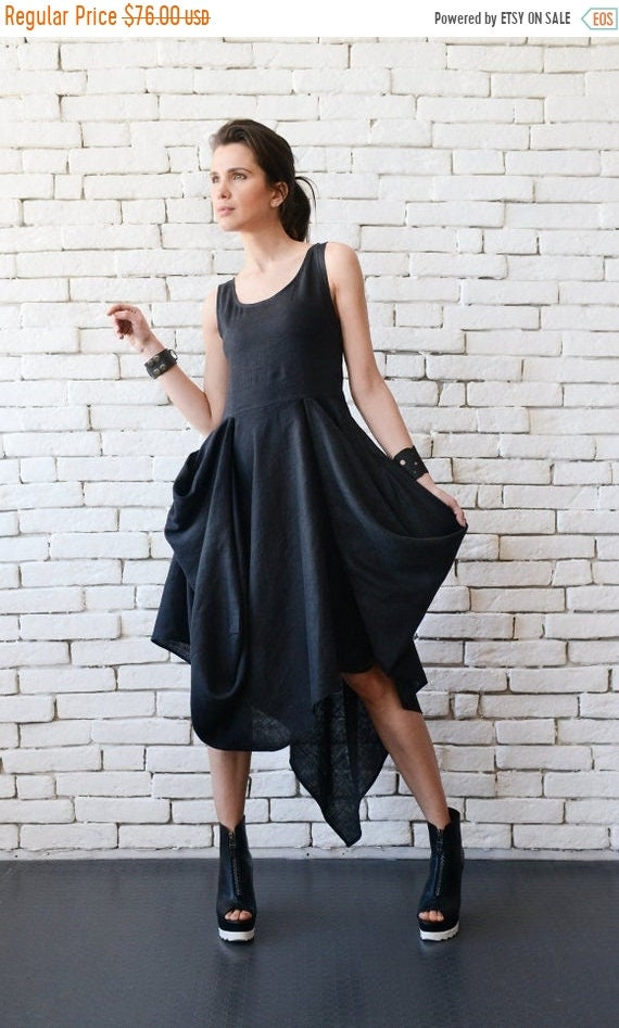 35% OFF Extravagant Black Dress/Asymmetric Linen Dress/Long Short Sleeveless Dress/Oversize Long Tunic/Black Linen Dress/Everyday Casual Dre