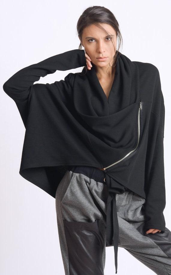Black Loose Cardigan/Asymmetric Maxi Top/Plus Size Coat/Extravagant Short Jacket/Long Sleeve Tunic Top/Loose Black Coat/Casual Jacket