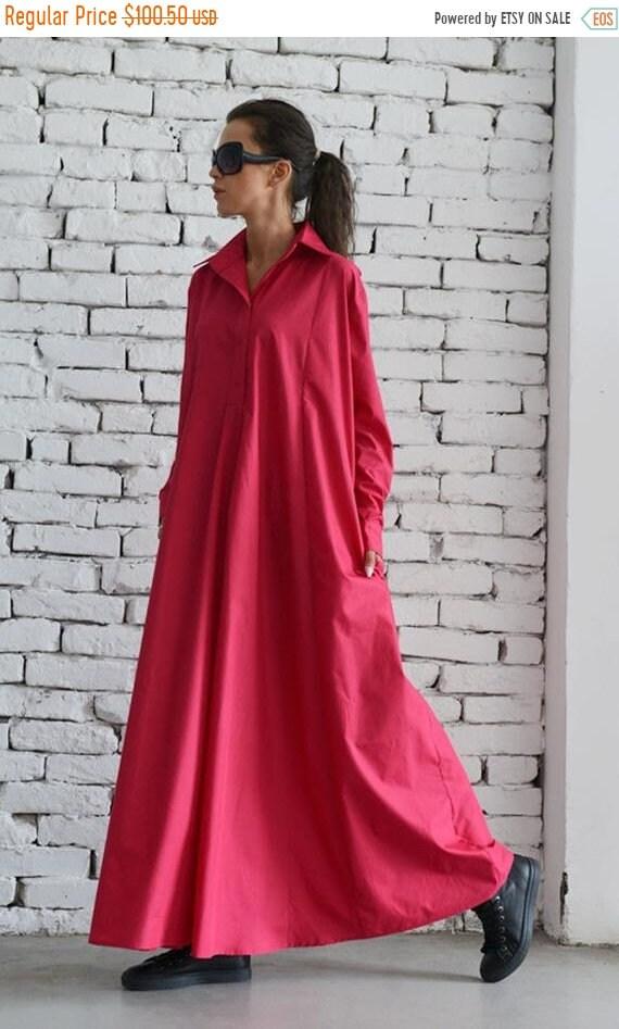 35% OFF Oversize Shirt Dress/Pink Maxi Dress/Long Loose Kaftan/Plus Size Maxi Dress/Long Sleeve Dress/Oversize Pink Tunic/Long Pink Dress ME