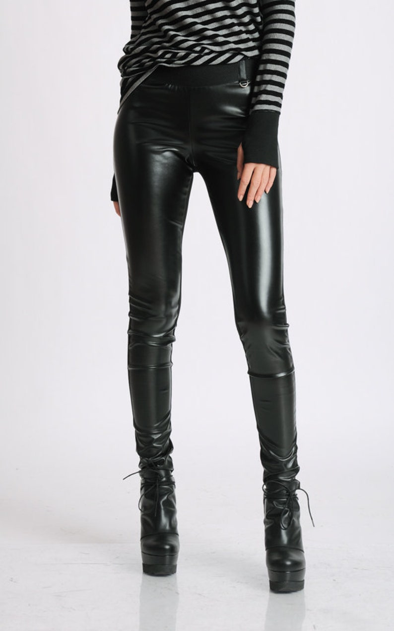 Black Extra Long Leggings/Faux Leather Front/Cotton Elastic image 0