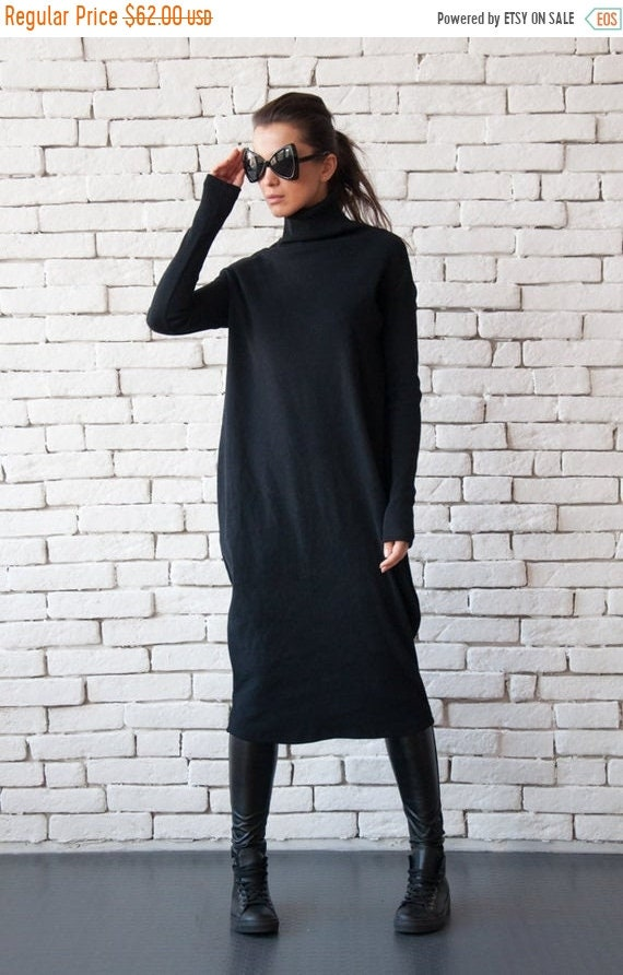 20% OFF Long Black Dress with Polo Collar/Long Sleeve Loose Dress/Oversize Black Kaftan Dress/Comfortable Everyday Dress/Plus Size Dress MET