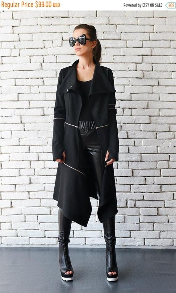 25% OFF Loose Long Asymmetric Coat/Extravagant Zipper Jacket/Comfortable Casual Coat/Thumb Hole Sleeves Oversize Long Tunic METC0033