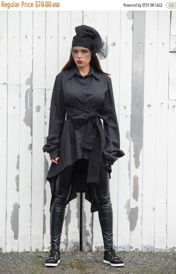 20% OFF Long Black Shirt/Cut Out Back Shirt/Asymmetric Black Tunic/Long Sleeve Asymmetric Top - XXL, XXXL, Xxxxl Available METSh0010