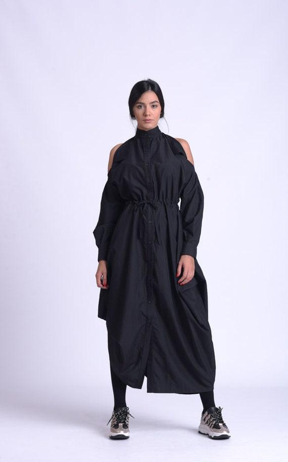 NEW Extravagant Loose Shirt Dress/Black Naked Shoulder Dress/Asymmetric Tunic Dress/Adjustable Waist Loose Dress/Black Maxi Dress METD0159