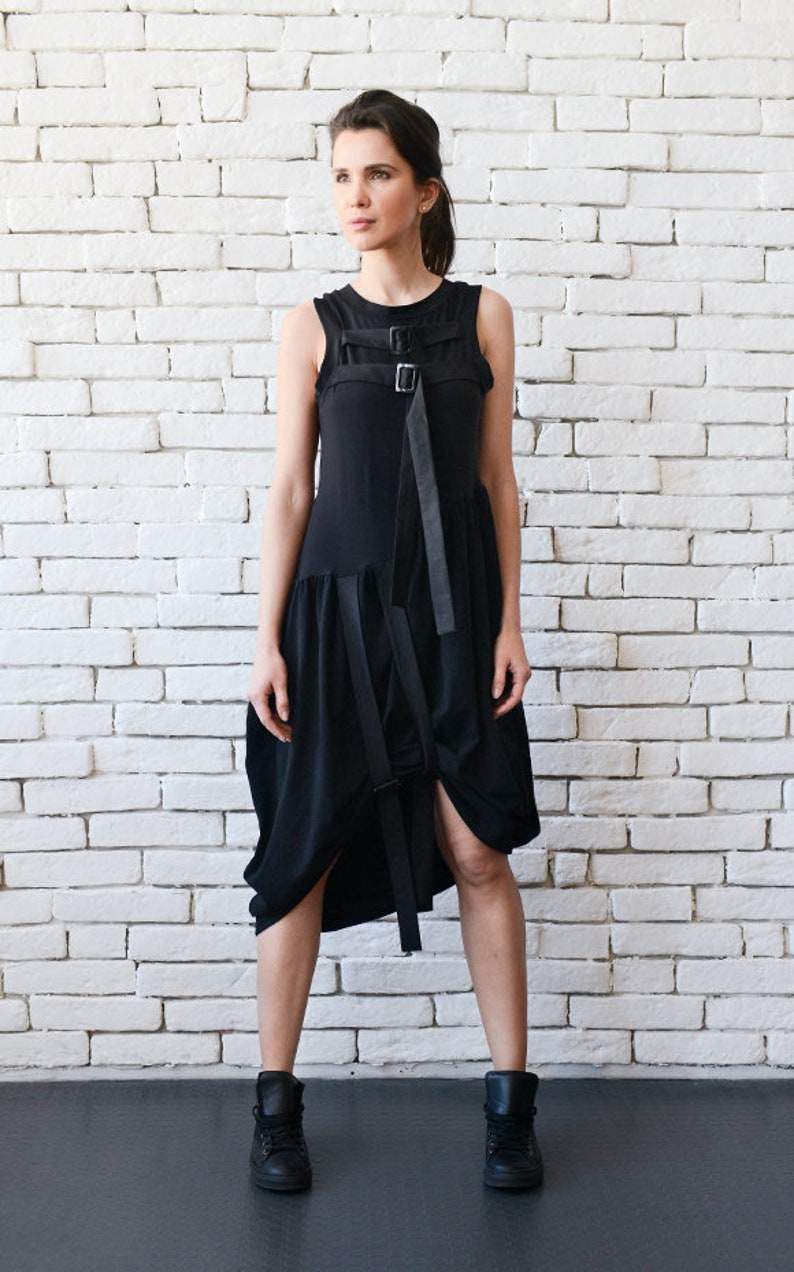 Black Short Dress with Buckles/Asymmetric Casual Tunic image 0