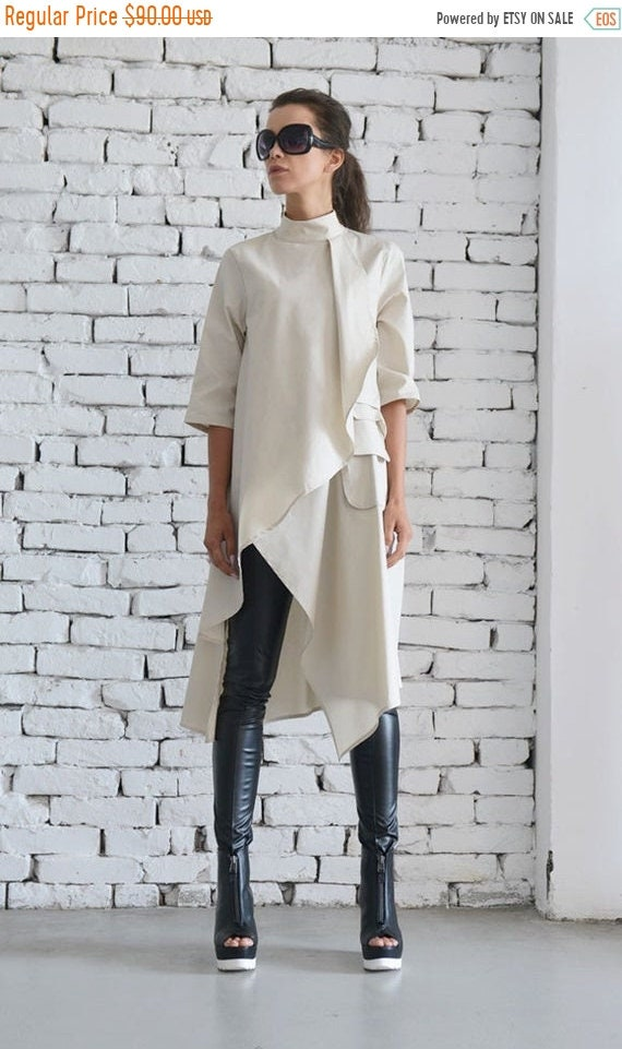 20% OFF Beige Asymmetric Shirt/Extravagant Oversize Tunic/Half Sleeve Casual Top/Short Maxi Dress/Cream Loose Shirt Dress by METAMORPHOZA