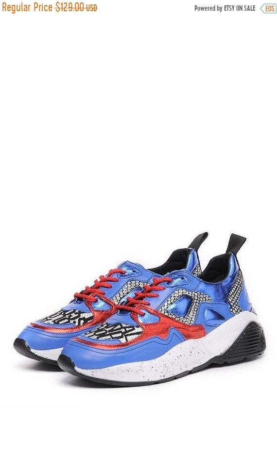 40% OFF Extravagant Blue Shoes/Sport Casual Sneakers/Comfortable Gym Shoes/Extravagant Flats/Blue Shoes with Red Laces/Everyday Fashionable