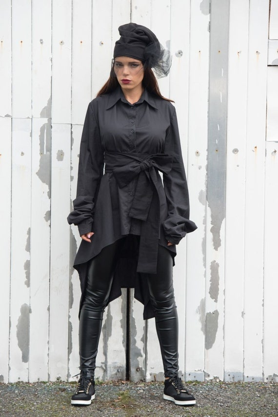 Black Asymmetrical Sexy Shirt/Loose Cotton Collar Top/Extravagant Black Tunic with Open Back/Long Sleeve Asymmetric Shirt METSh0010