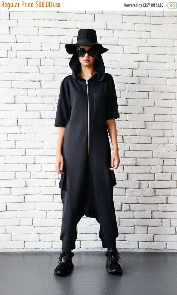 25% OFF Black Maxi Jumpsuit/Plus Size Onepiece/Black Drop Crotch Pants/Hooded Loose Tunic/Black Casual Jumpsuit/Black Short Sleeve One Piece
