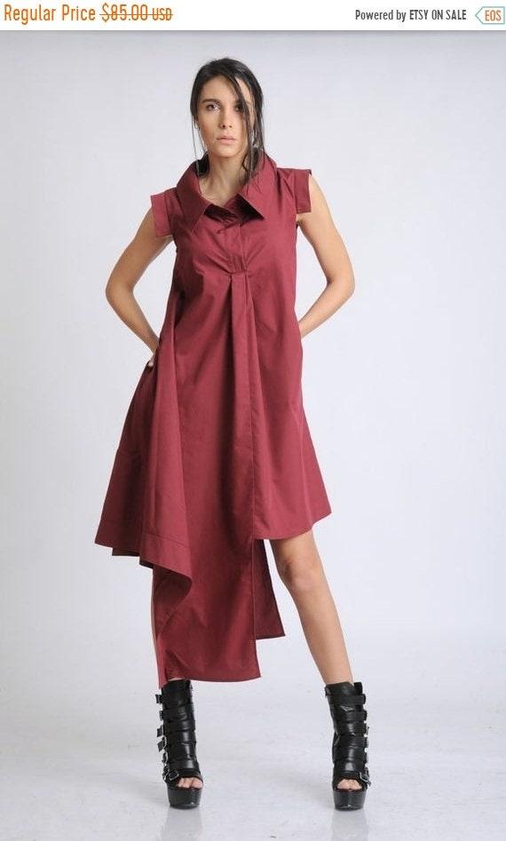 20% OFF Burgundy Asymmetric Dress/Sleeveless Shirt Dress/Loose Long Tunic/Oversize Cotton Top/Casual Button Dress/Summer Maxi Dress/Long Col