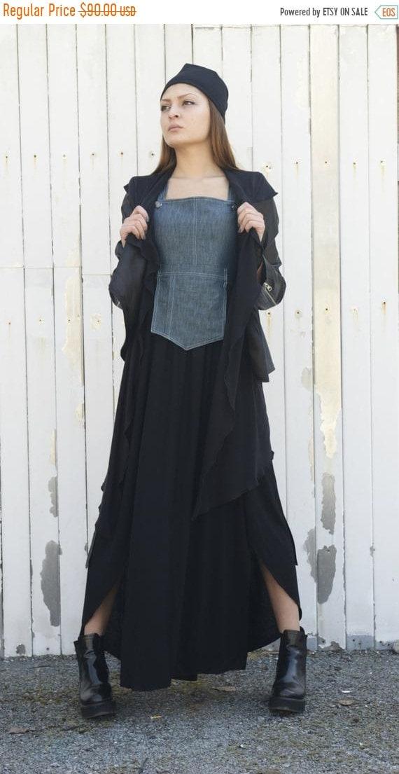 20% OFF Denim Element Dress / Long Denim Dress / Maxi Black Dress / Denim Dress / Black dress / Asymmetrical Denim dress / Asymmetric Dress
