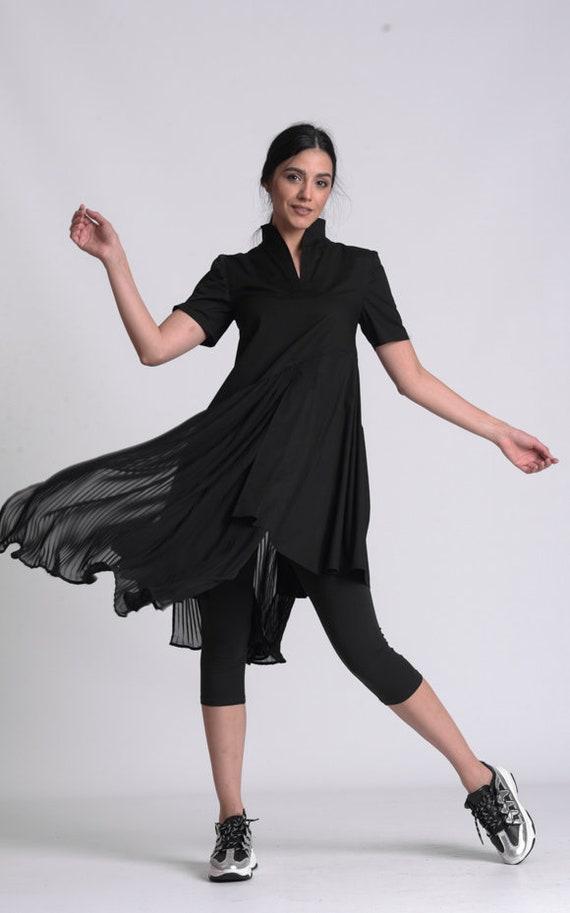 NEW Black Pleated Shirt Dress by METAMORPHOZA
