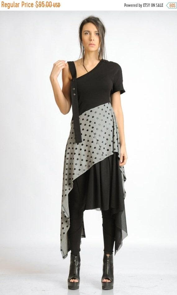 35% OFF Light Grey and Black Tunic/Short Asymmetric Studded Dress/Black Mesh Tunic Dress/Oversize Extravagant Long Top/Casual Dotted Grey Tu
