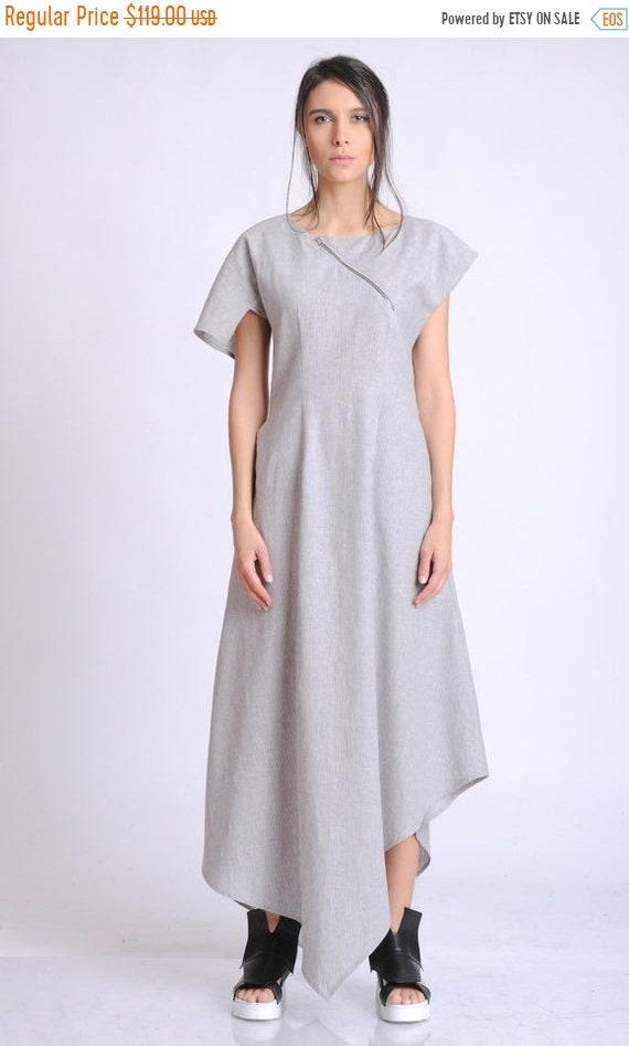 20% OFF Loose Grey Linen Dress/Asymmetric Summer Kaftan/Short Sleeve Casual Dress/Linen Maxi Dress with Zipper/Long Summer Dress with Pocket