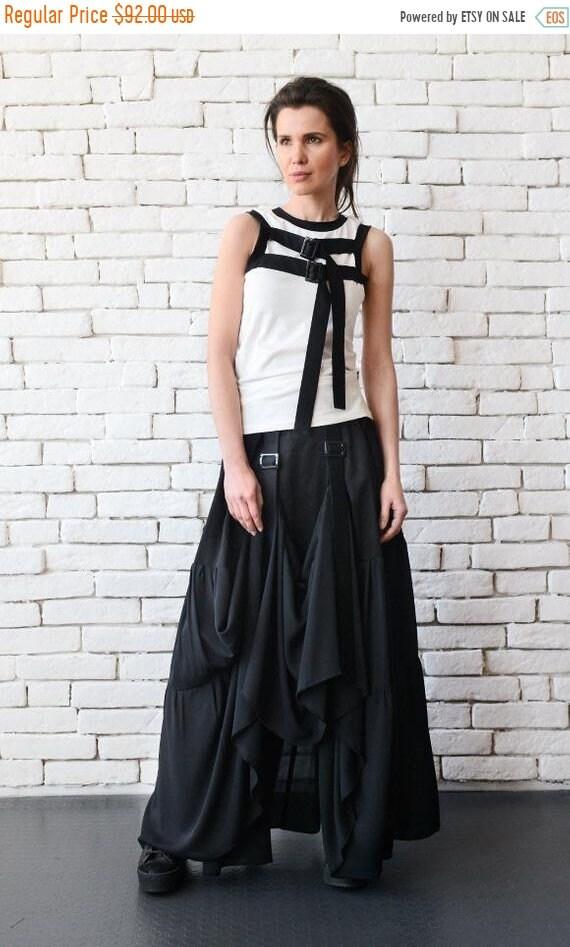 25% OFF Long Maxi Skirt/Extravagant Asymmetric Skirt with Front Accent/Long Loose Black Skirt/Black Cotton Skirt/Black Maxi Skirt/Oversize S