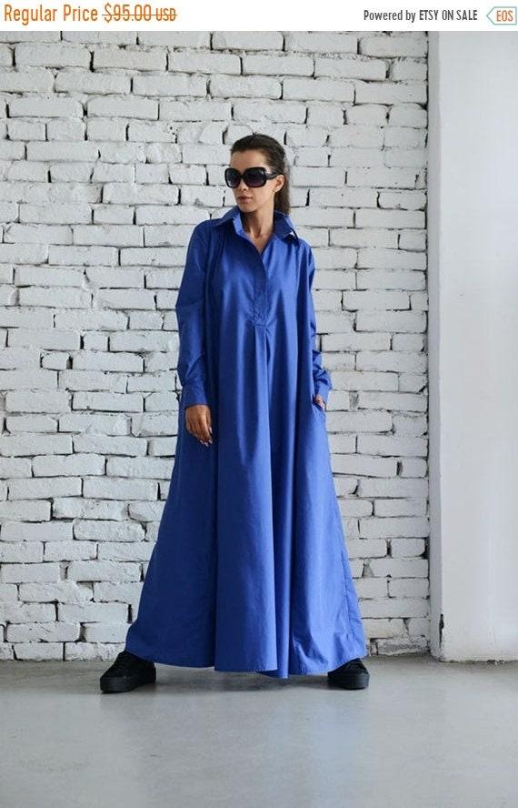 20% OFF Blue Maxi Dress/Plus Size Kaftan/Long Sleeve Casual Dress/Oversize Shirt Dress/Blue Loose Tunic Dress/Evening Blue Dress METD0004